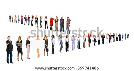 Standing Together People Order  - stock photo
