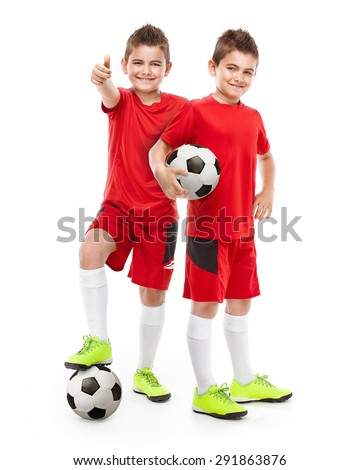 standing two young soccer players holding football isolated over white background - stock photo