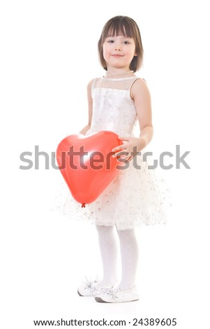 Standing well-dressed little girl with red balloon in hand - stock photo