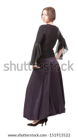 Standing woman,  view from the back, isolated on white - stock photo