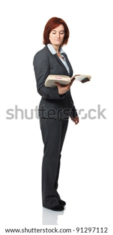 standing woman with book isolated on white