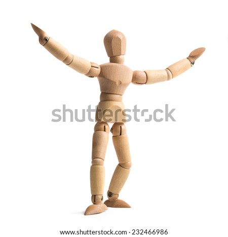 standing wooden man - stock photo