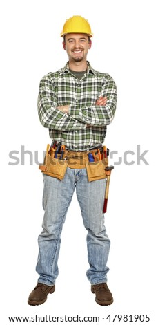 standing young manual worker isolated on white background