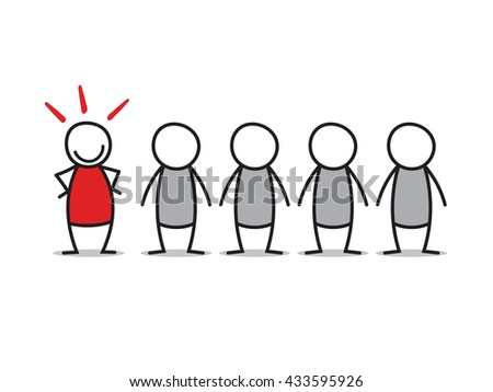Standout, figures on white background