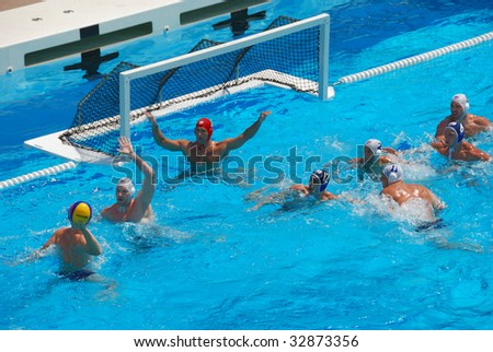 STANFORD, CALIFORNIA - JUNE 7: USA versus SERBIA compete in a friendly water polo game at the Avery Aquatic Center in Stanford, CA on June 7, 2009. - stock photo