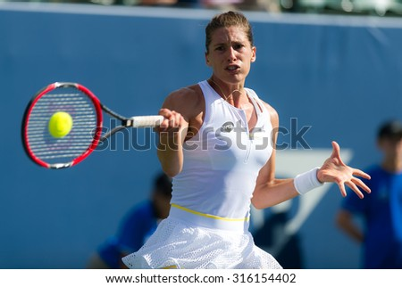 STANFORD, UNITED STATES - AUGUST 4 :  Andrea Petkovic in action at the 2015 Bank of the West Classic WTA Premier tennis tournament