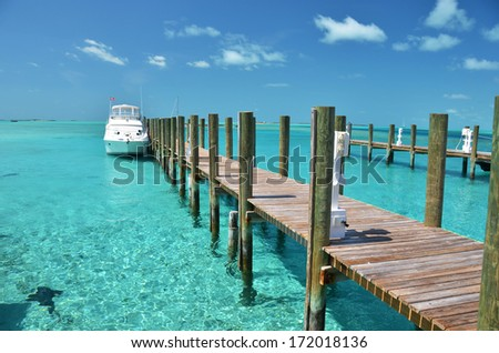 Staniel Cay yacht club. Exumas, Bahamas  - stock photo