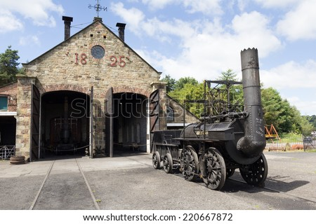 "STANLEY, ENGLAND - JULY 10. Replica of ""Locomotion 1"" at the Beamish Open Air Museum on July 10, 2014, Stanley, England. - stock photo"