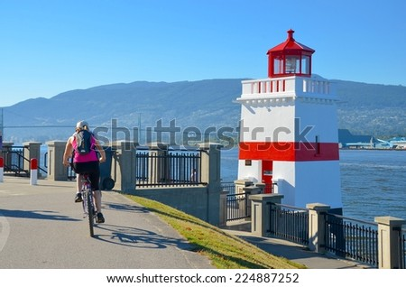 Stanley Park Lighthouse in Vancouver, Canada - stock photo