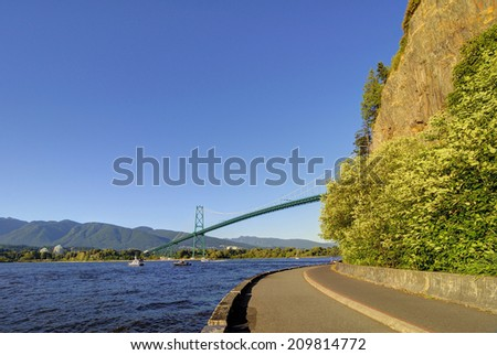 Stanley Park seawall in Vancouver, Canada - stock photo