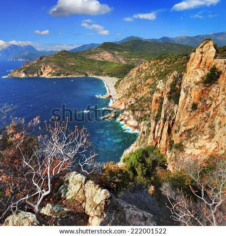 stanning landscapes of Corsica island - stock photo