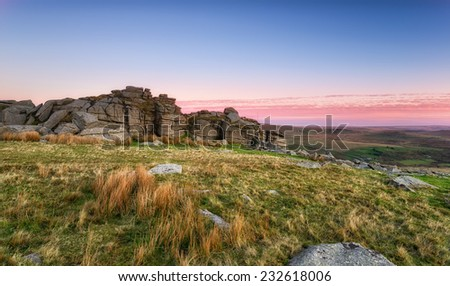 Staple Tor near Merrivale on Dartmoor National Park - stock photo