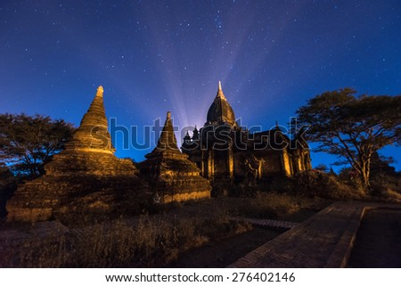 star above ancient pagoda in Bagan , Myanmar - stock photo