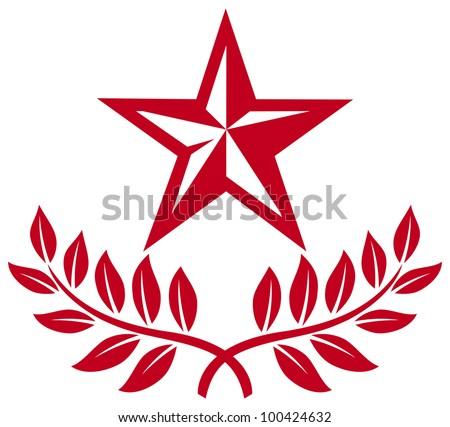 star and laurel wreath - stock photo