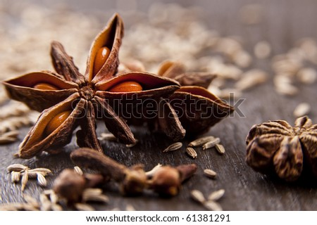 Star anise and cumin seeds on a wooden board - stock photo