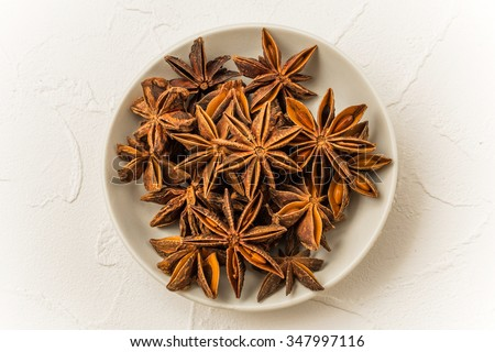 Star anise Chinese medicine dishes prepared with medicinal herbs - stock photo