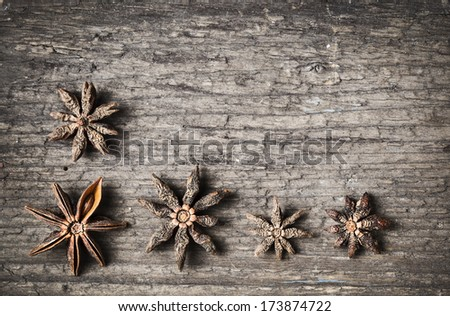 star anise on aged wood