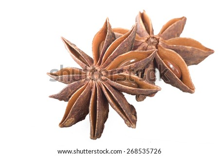 Star anise spice fruits and seeds on white