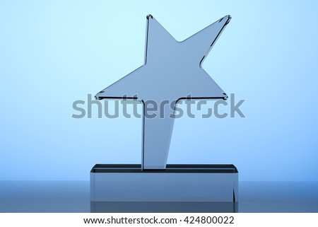 Star Award Trophy on a blue background. 3d Rendering - stock photo