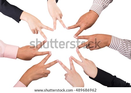 Star business group of businessman using hand for unity cooperation.