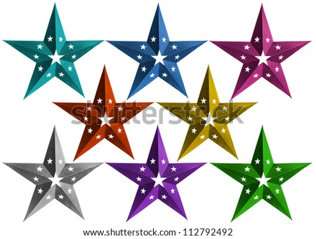 Star Christmas decorations of different colors isolated over white background - stock photo