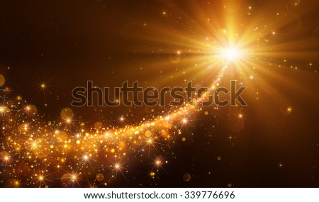 Star Christmas With Golden Glitter - stock photo