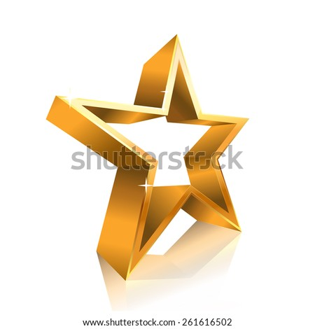 star contour made of gold - stock photo