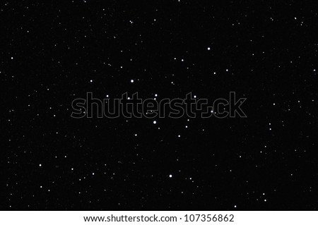 Star field with Messier M39 (or NGC7092), an open cluster in the constellation of Cygnus. - stock photo