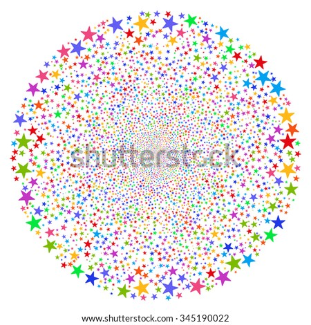 Star Fireworks Sphere glyph illustration. Style is bright multicolored flat stars, white background.