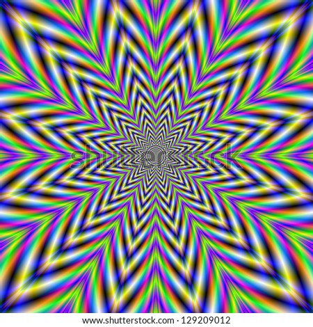 Star Flower / Digital abstract fractal image with a flower design in green, blue, yellow and pink. - stock photo