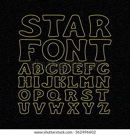 Star Font Set. Vector Space Alphabet. Letters on The Night Sky Background.