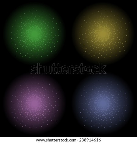 Star glimmer shine raster clip art element. Green, yellow, violet and dark blue. Clip art isolated on black - stock photo