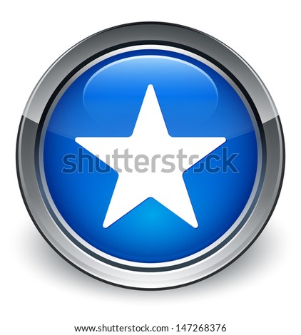 Star icon glossy blue button