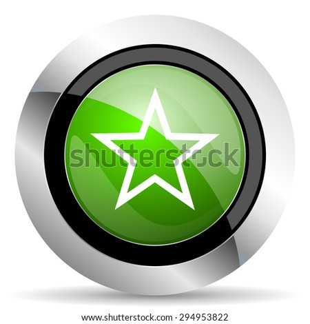 star icon, green button  - stock photo