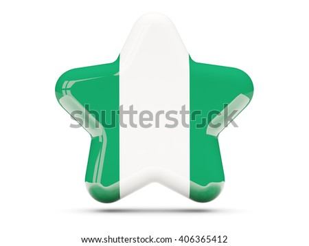 Star icon with flag of nigeria. 3D illustration - stock photo