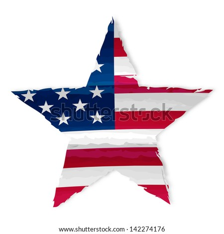 star in drawing american flag, isolated, usa independence - stock photo