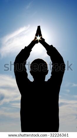 Star in hands. Element of design. - stock photo