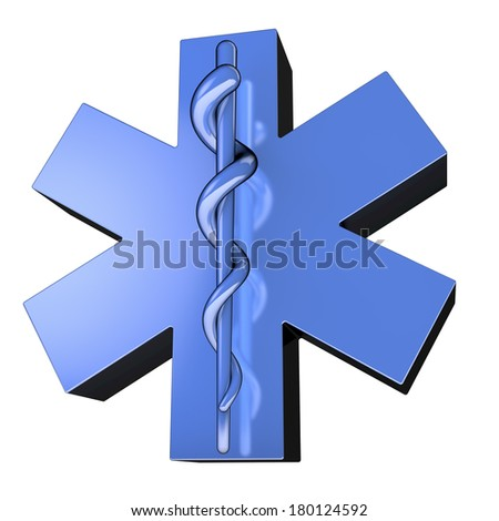 Star of Life,  blue metallic surface, from below, 3d rendering - stock photo