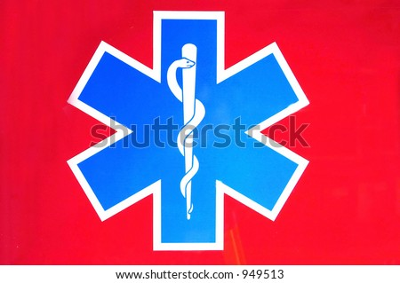 star of life on red - stock photo