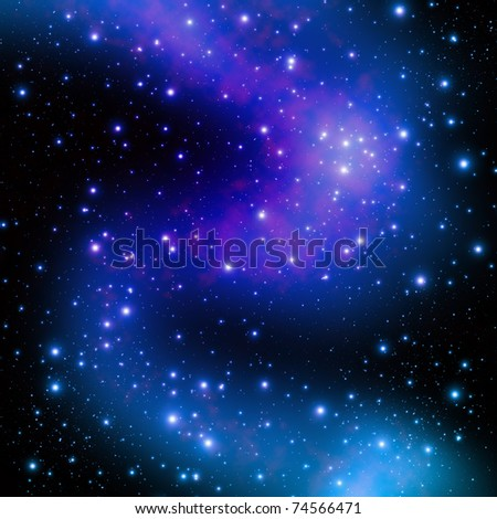 Star on space at night - stock photo