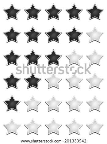 star rating set black silver - stock photo