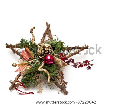 Star shape Christmas wreath - stock photo
