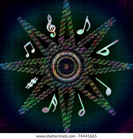 Star shape with circles and multicolored glowing musical notes against dark background - stock photo