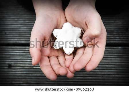 star-shaped cinnamon biscuit in childrens hand