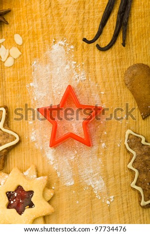 Star shaped cookie cutter from above with different spices