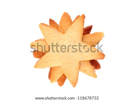 Star shaped cookies isolated on white background. Christmas baking. - stock photo