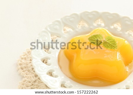 star shaped mango Jelly with mint for Kid menu in diorama style