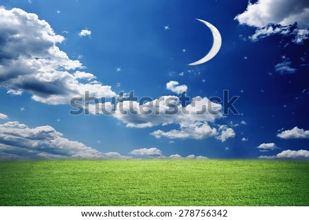 Star sky in the summer evening with moon - stock photo