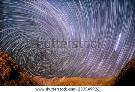 Star spiral in the mountains - stock photo
