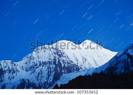 Star treks in Himalaya mountains, Nepal - stock photo